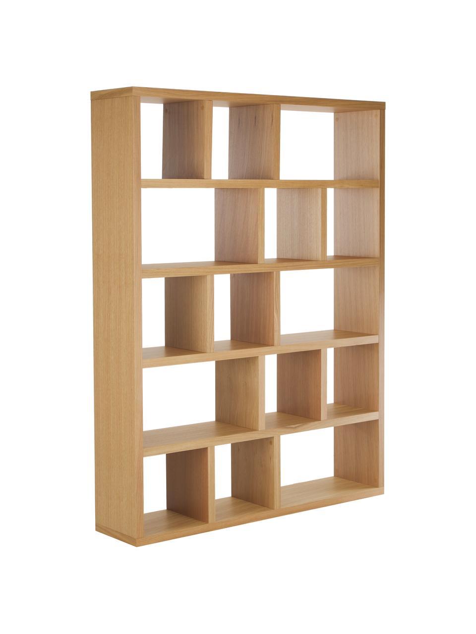 Duży regał na książki z z forniru z drewna dębowego Portlyn, Drewno dębowe, S 150 x W 198 cm