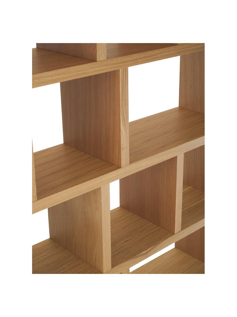 Libreria grande con finitura in legno di quercia Portlyn, Rivestimento: cartone di fibra a media , Superficie: finitura in vero legno, Legno di quercia, Larg. 150 x Alt. 198 cm