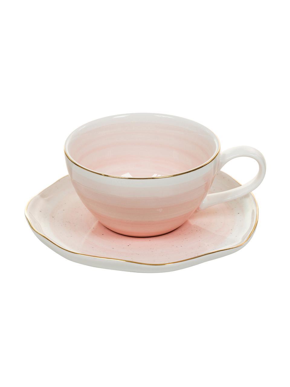 Komplet ręcznie wykonanych  filiżanek  Bella, 2 elem., Porcelana, Blady różowy, Ø 10 x W 6 cm