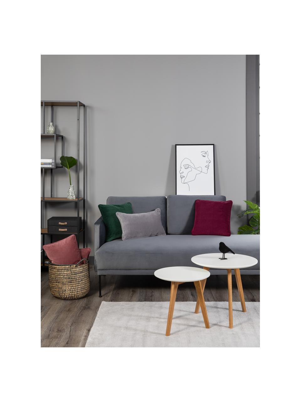 Einfarbige Samt-Kissenhülle Dana in Grau, Baumwollsamt, Grau, 30 x 50 cm