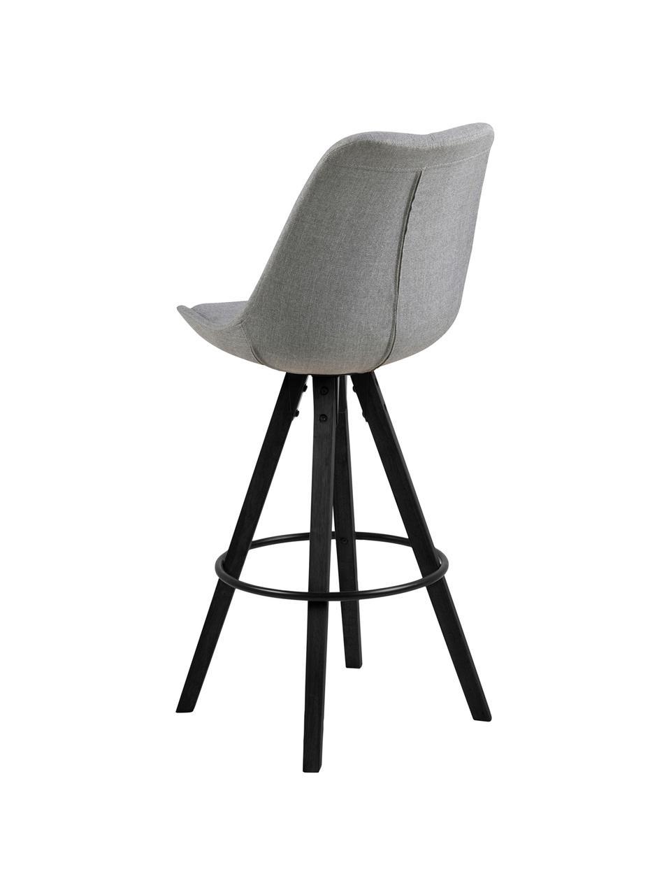 Barstühle Dima in Grau, 2 Stück, Bezug: Polyester 25.000 Scheuert, Beine: Gummibaumholz, lackiert, Hellgrau, 49 x 112 cm
