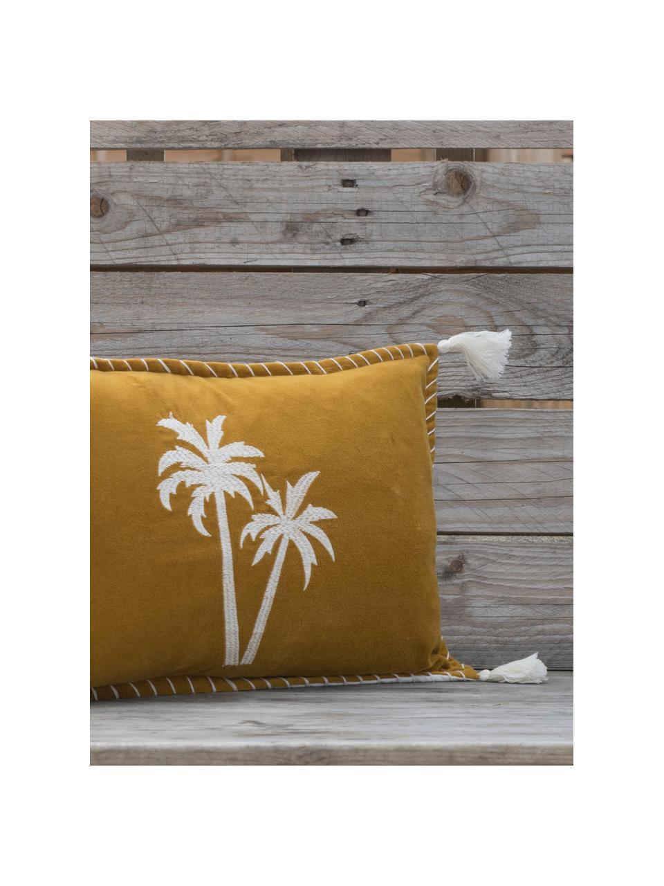 Samt-Kissenhülle Bali mit Palmen-Stickerei und Quasten, 50% Baumwolle, 50% Polyester, Senfgelb, Weiß, 30 x 50 cm