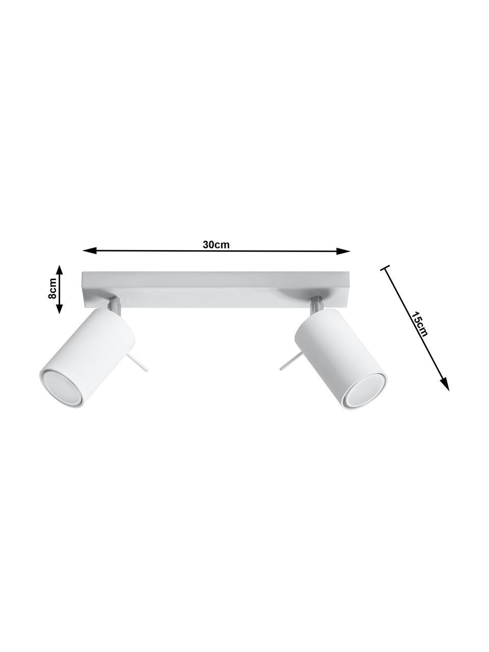 Deckenstrahler Etna in Weiß, Baldachin: Stahl, lackiert, Weiß, 30 x 15 cm