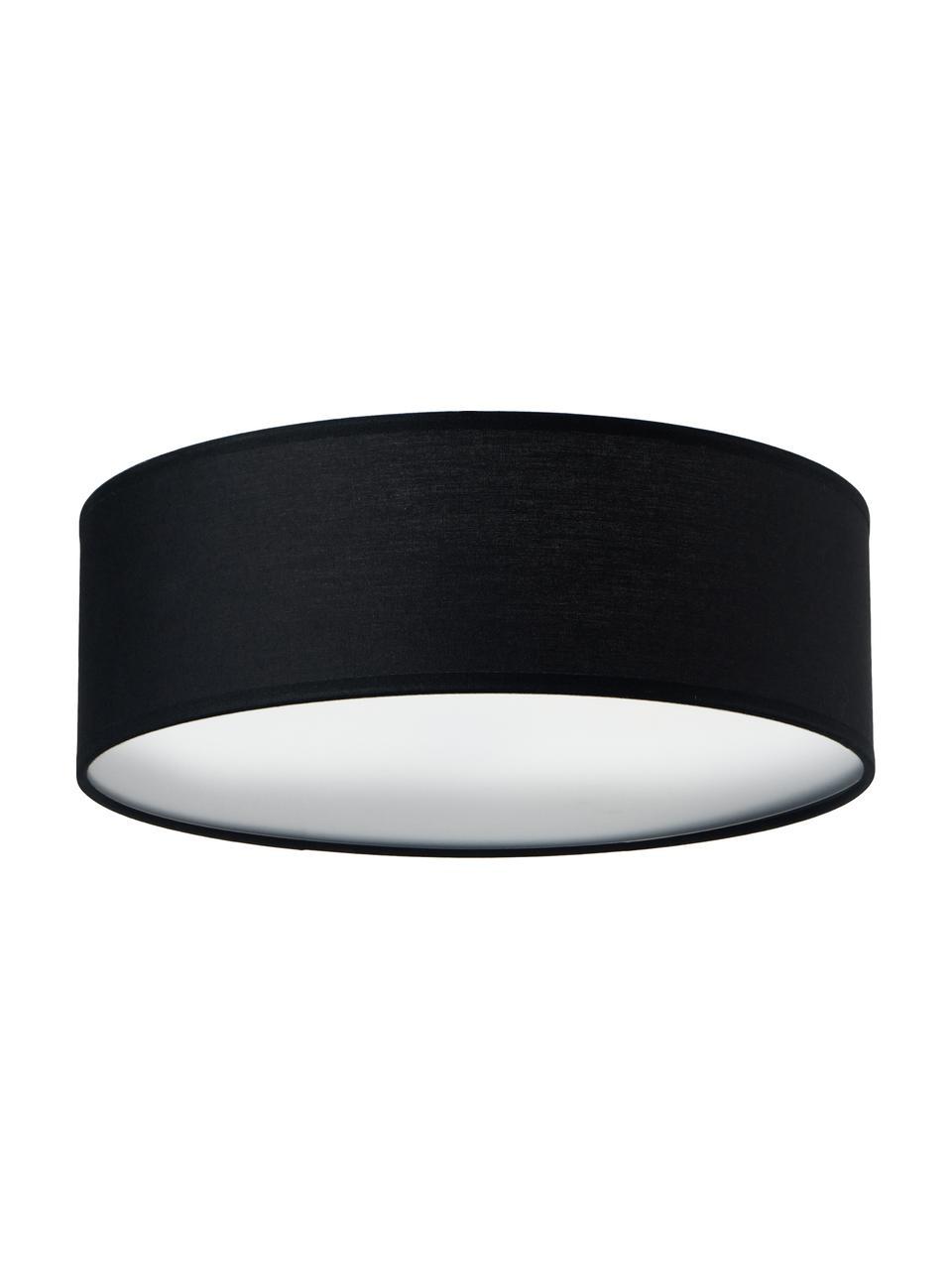 Handgefertigte Deckenleuchte Mika, Lampenschirm: Baumwolle, Diffusorscheibe: Kunststoff, Schwarz, Ø 30 x H 10 cm