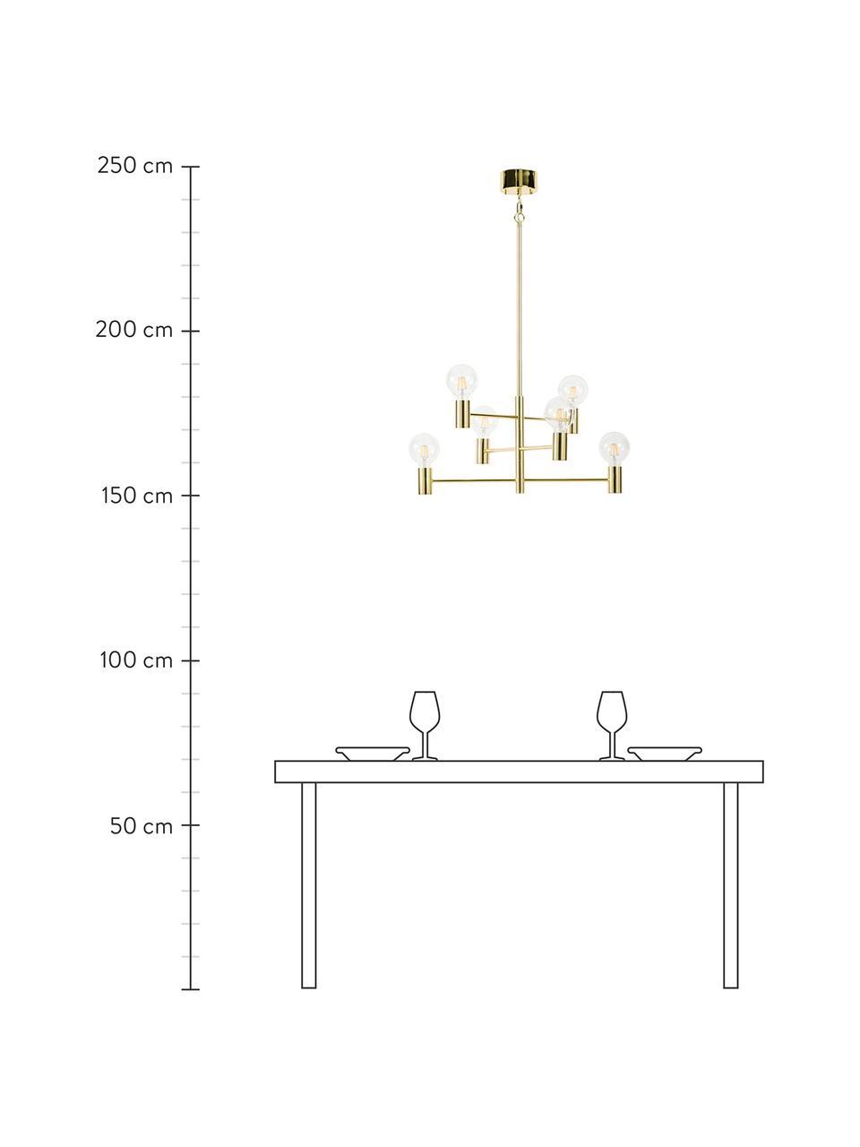 Grote hanglamp Capital in messing, Vermessingd metaal, Messingkleurig, Ø 63 cm