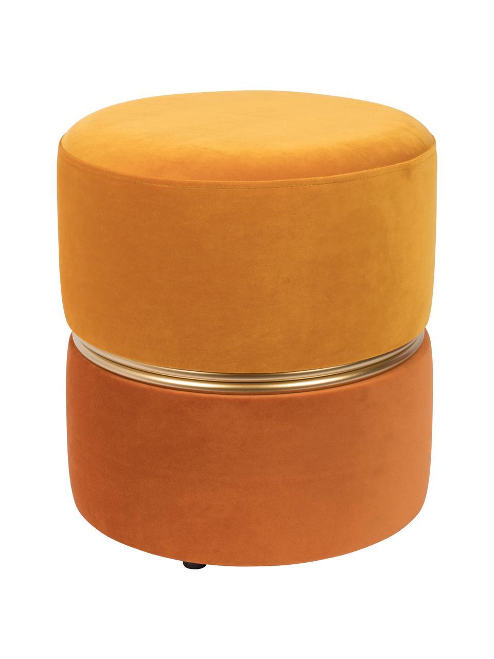 Samt-Hocker Bubbly, Bezug: Polyestersamt 20.000 Sche, Gestell: Mitteldichte Holzfaserpla, Gelbtöne, Ø 35 x H 39 cm