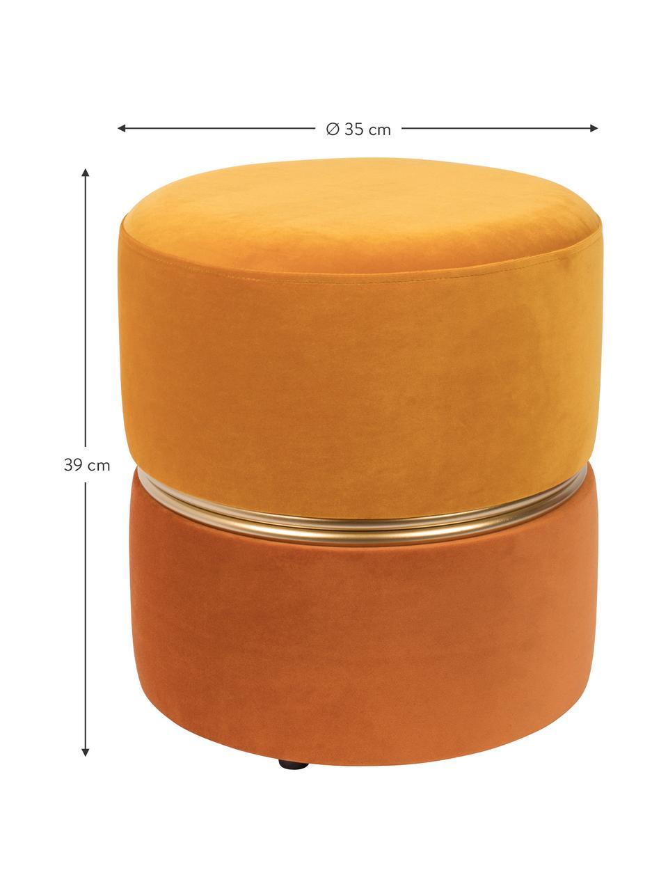 Puf z aksamitu Bubbly, Tapicerka: aksamit poliestrowy 2000, Stelaż: płyta pilśniowa średniej , Odcienie żółtego, Ø 35 x W 39 cm
