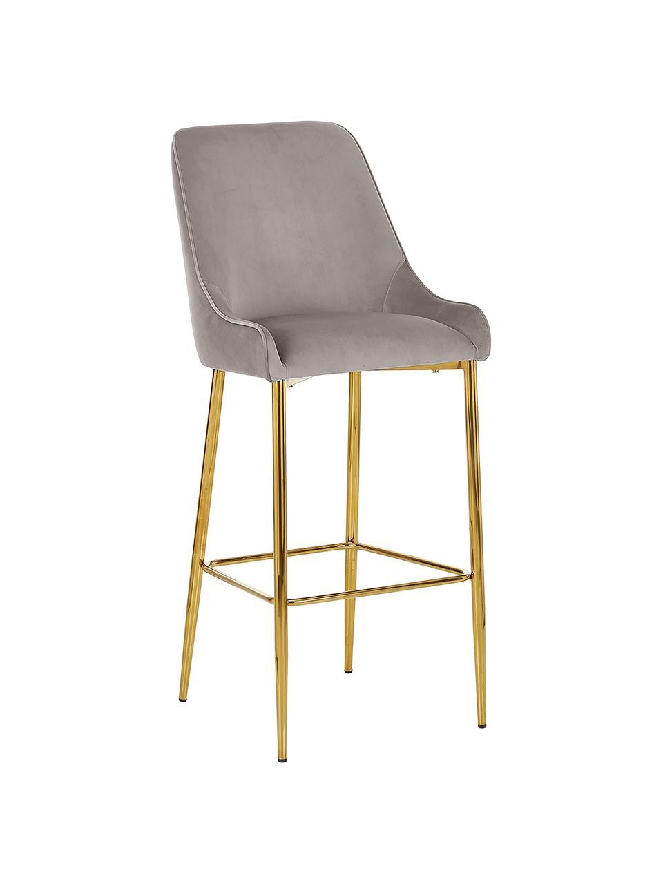 Sedia da bar in velluto taupe Ava, Rivestimento: velluto (100% poliestere), Velluto taupe, Larg. 48 x Alt. 107 cm