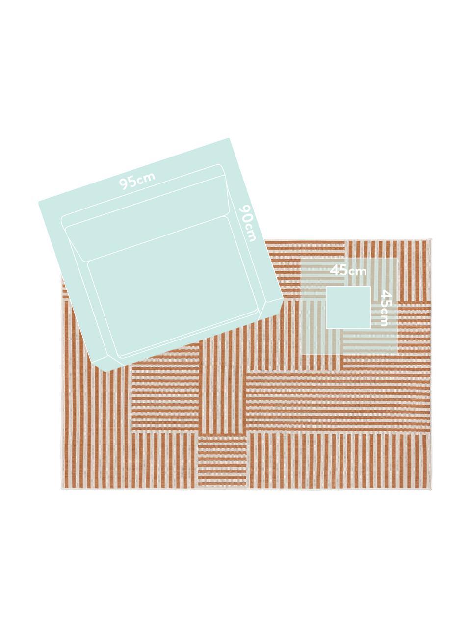 Dywan wewnętrzny/zewnętrzny Nillo, 100% polietylen, Pomarańczowy, kremowy, S 120 x D 170 cm (Rozmiar S)