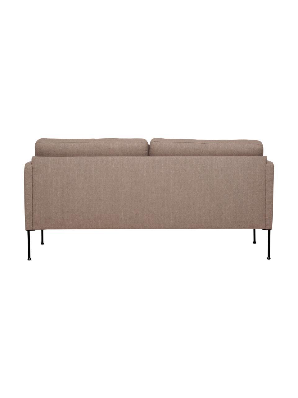 Sofa Fluente (2-Sitzer) in Taupe mit Metall-Füßen, Bezug: 100% Polyester 35.000 Sch, Gestell: Massives Kiefernholz, Füße: Metall, pulverbeschichtet, Webstoff Taupe, B 166 x T 85 cm