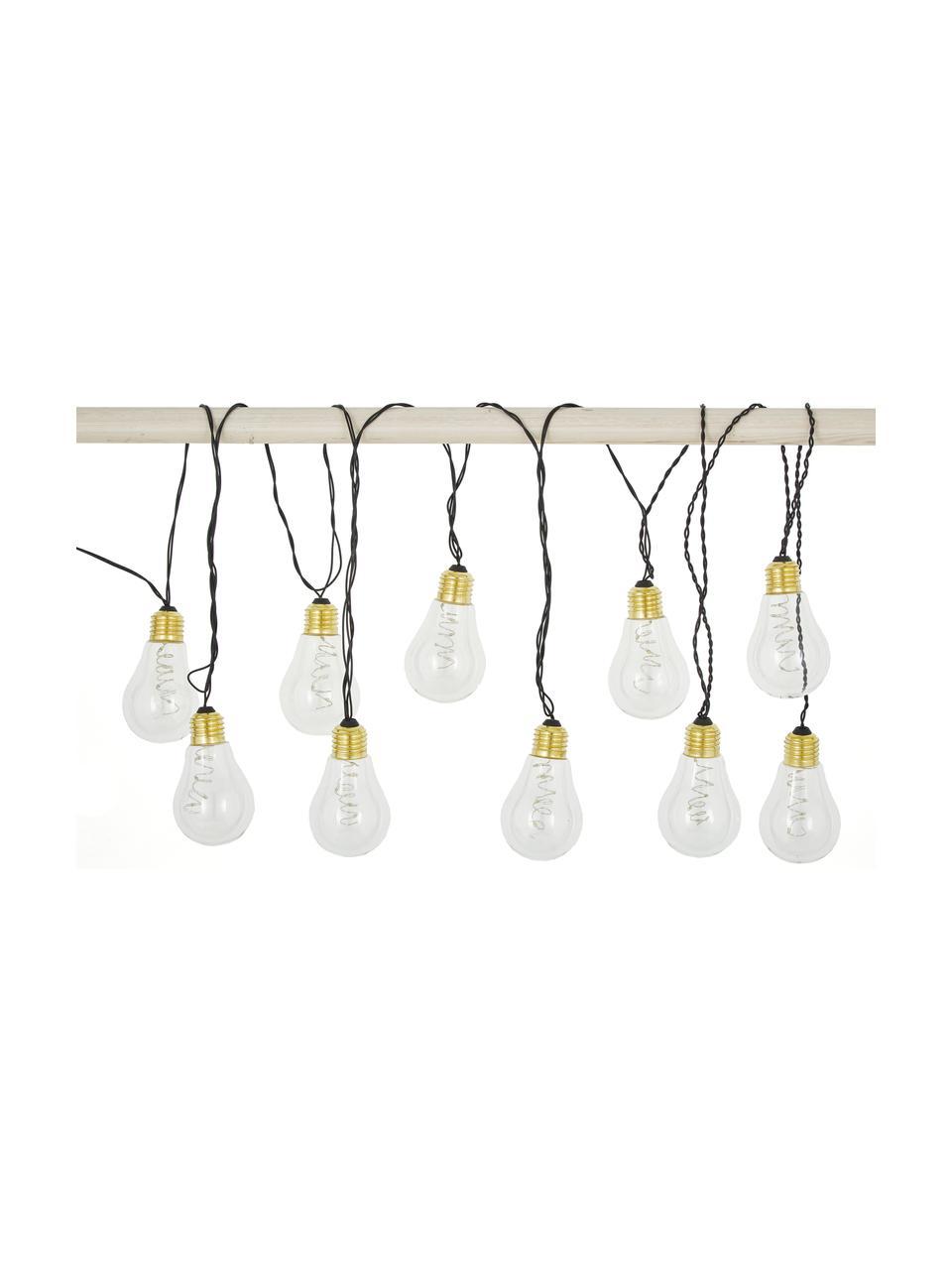 Ghirlanda  a LED Bulb, 360 cm, 10 lampioni, Lampadina: materiale sintetico, meta, Lampadina: trasparente, dorato, Cavo: nero, Lung. 360 cm