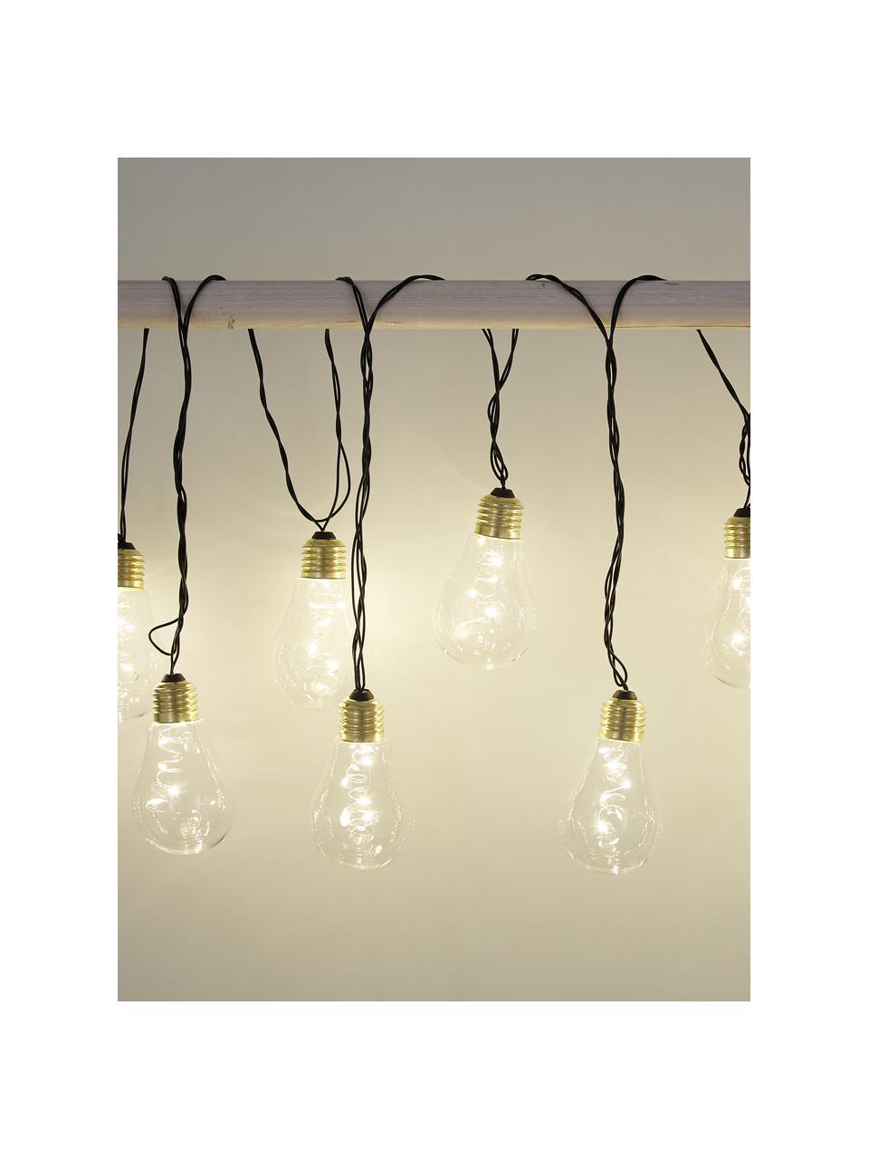LED-Lichterkette Bulb, 360 cm, 10 Lampions, Leuchtmittel: Transparent, Goldfarben Kabel: Schwarz, L 360 cm