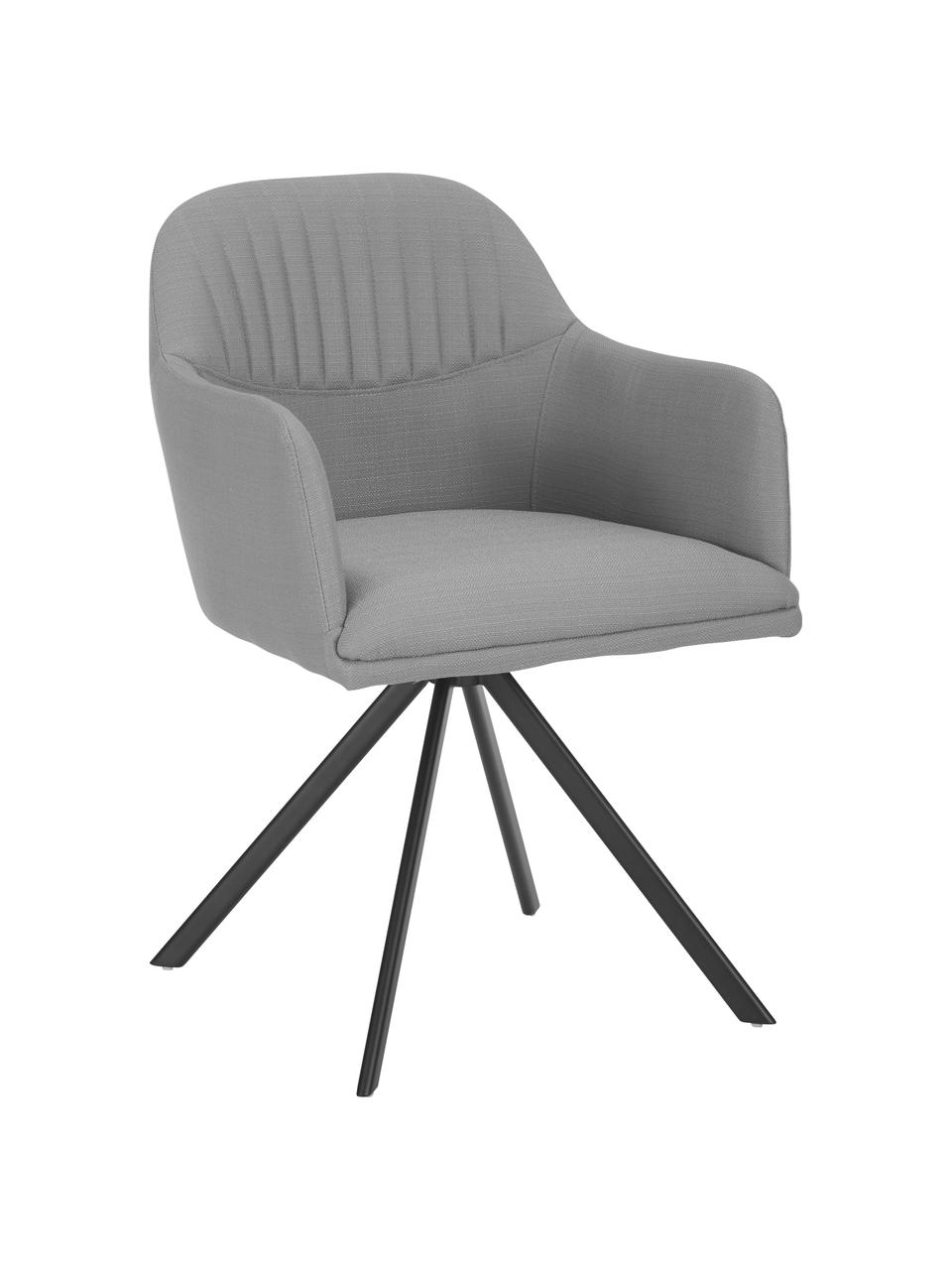Polster-Drehstuhl Lola mit Armlehne, Bezug: Polyester, Webstoff Grau, Beine Schwarz, B 55 x T 52 cm