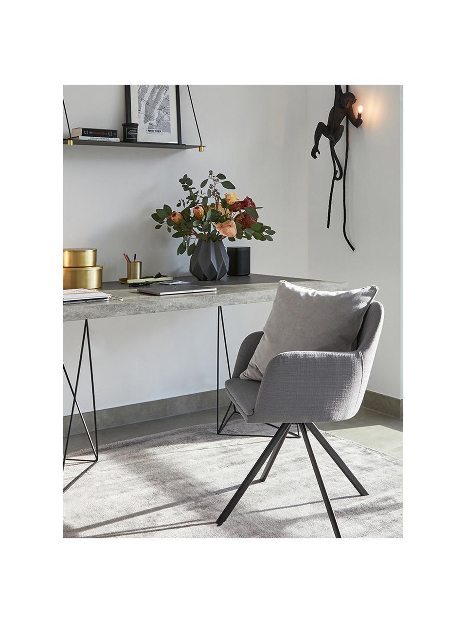 Tapicerowane krzesło z podłokietnikami Lola, obrotowe, Tapicerka: poliester, Nogi: metal malowany proszkowo, Szary, czarny, S 55 x G 52 cm