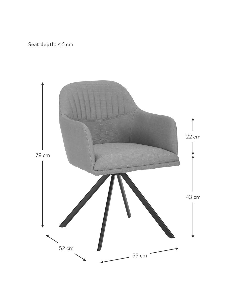 Polster-Drehstuhl Lola mit Armlehne in Grau, Bezug: Polyester, Webstoff Grau, Beine Schwarz, B 55 x T 52 cm