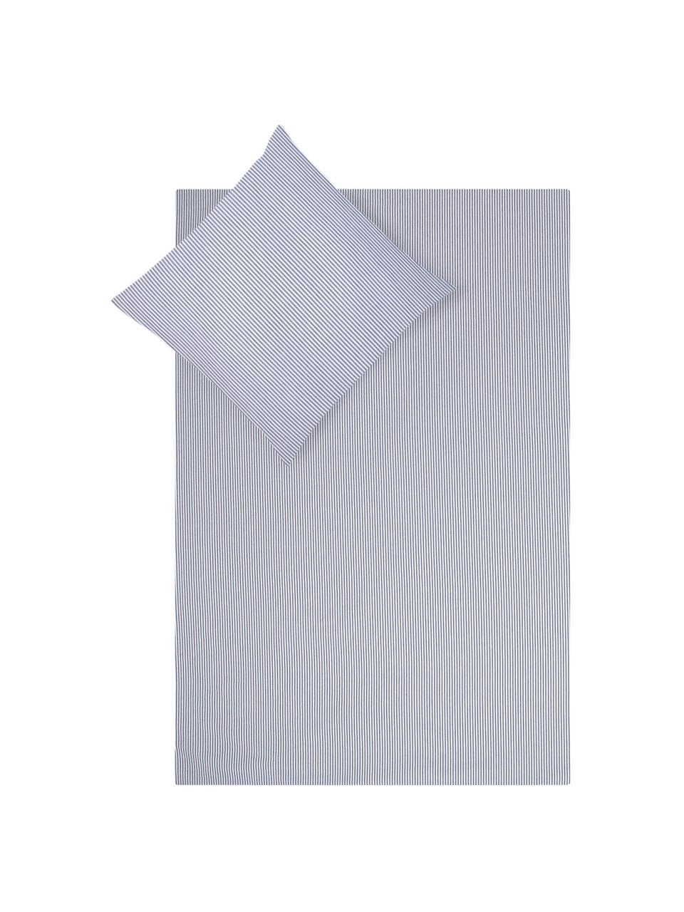 Baumwoll-Bettwäsche Ellie in Blau/Weiß, fein gestreift, Webart: Renforcé Fadendichte 118 , Weiß, Dunkelblau, 135 x 200 cm + 1 Kissen 80 x 80 cm