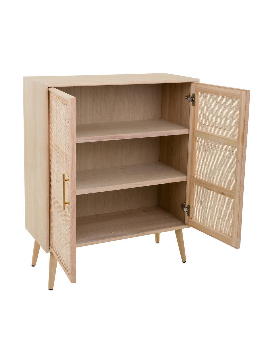 Dressoir Cayetana van hout, Frame: MDF, fineer, Handvatten: metaal, Poten: bamboehout, gelakt, Bruin, 80 x 101 cm