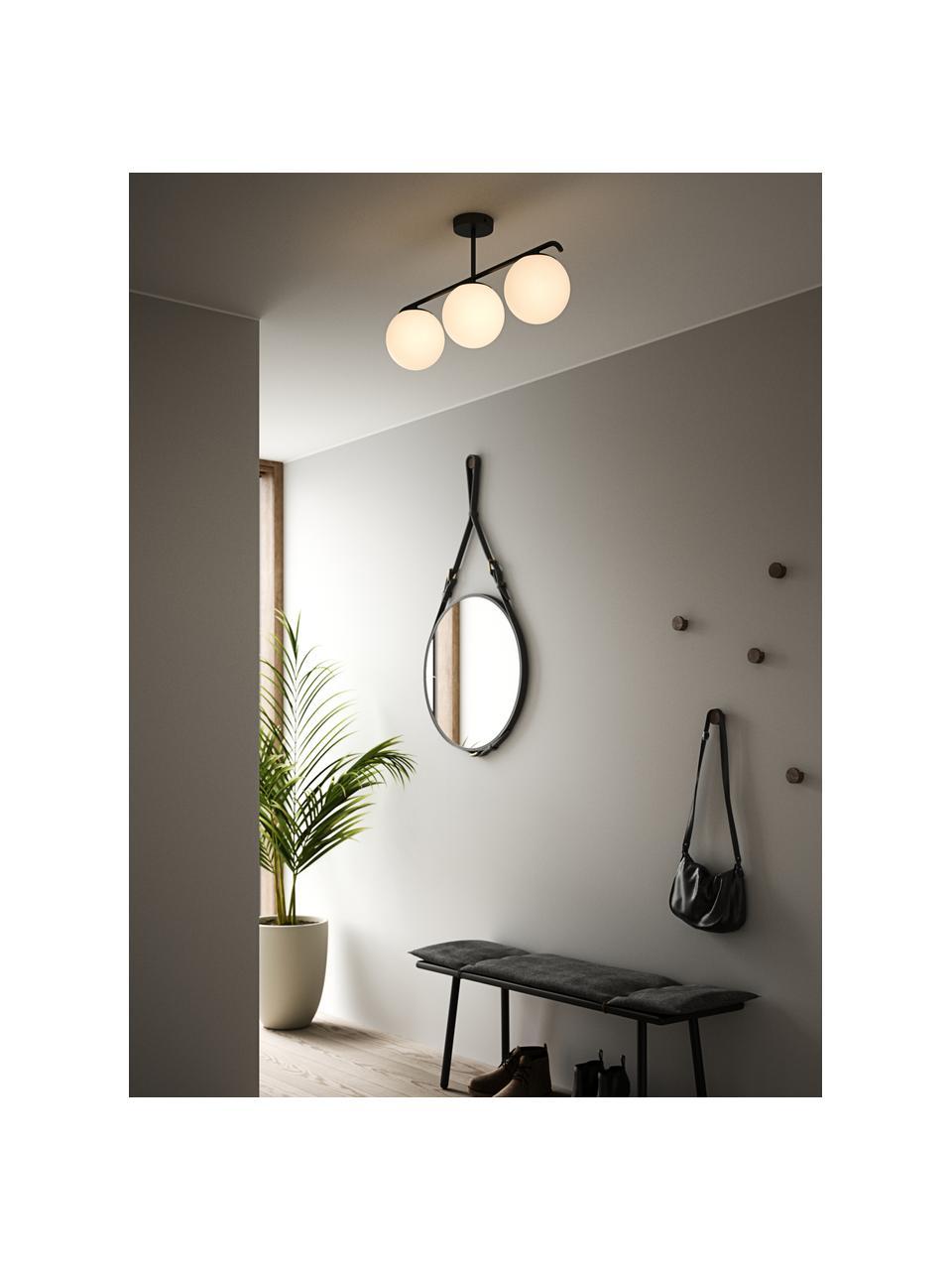Plafondlamp Grant van opaalglas, Baldakijn: gecoat metaal, Wit, zwart, 70 x 30 cm