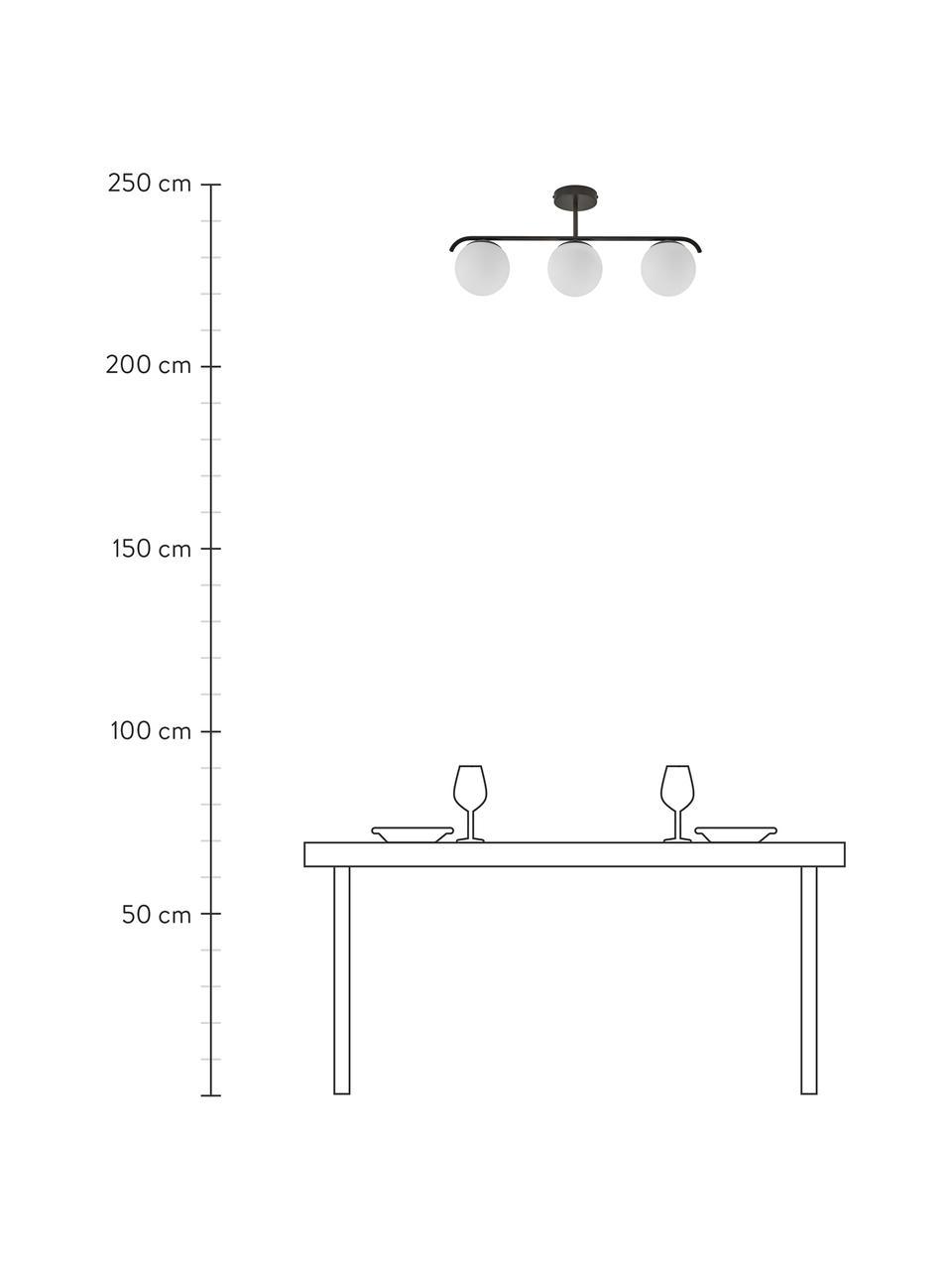 Lampa sufitowa ze szkła opalowego Grant, Biały, czarny, S 70 x W 30 cm