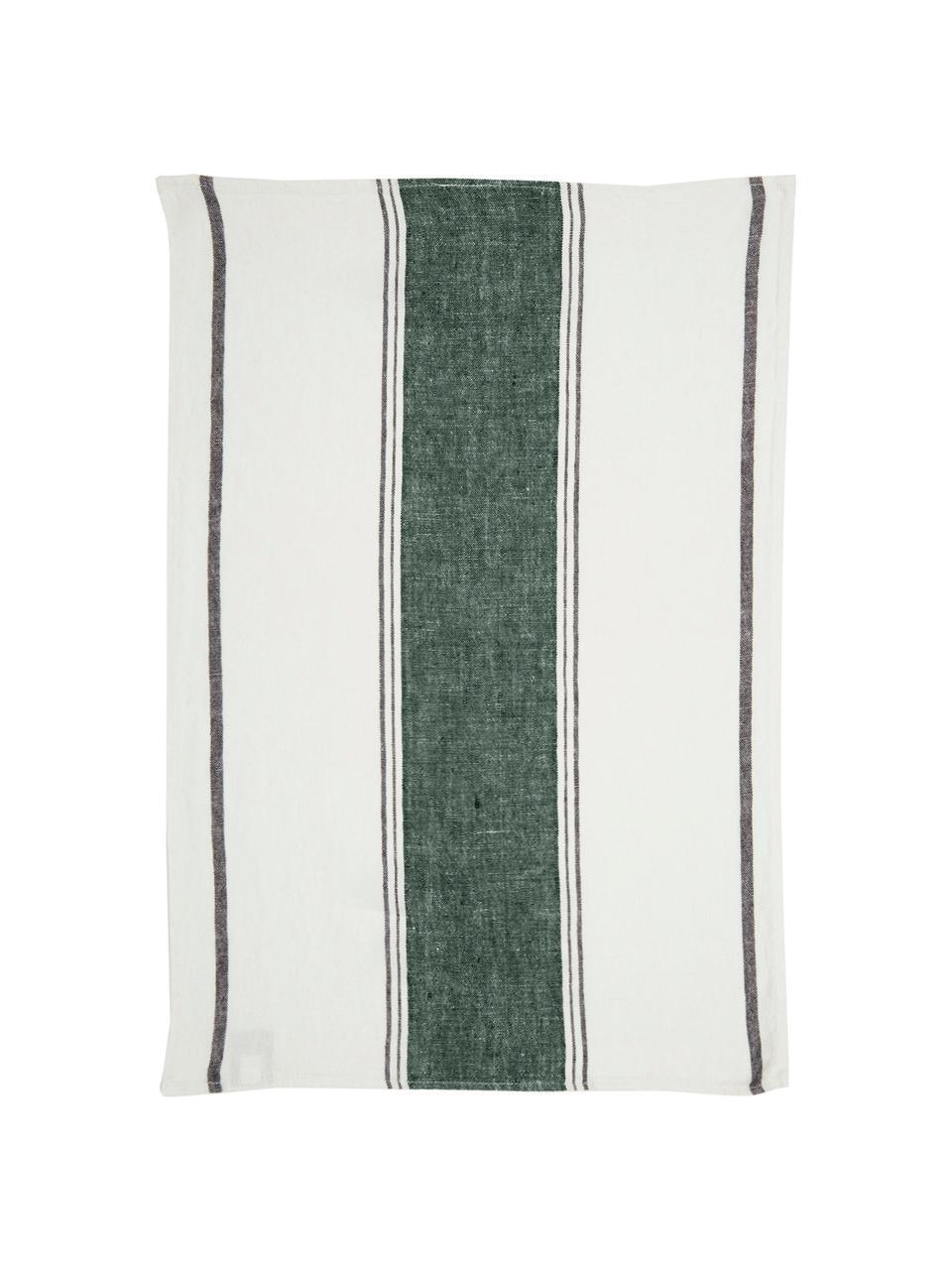 Leinen-Geschirrtuch Lecci mit grünem Streifen, Leinen, Waldgrün, Weiß Schwarz, 46 x 70 cm