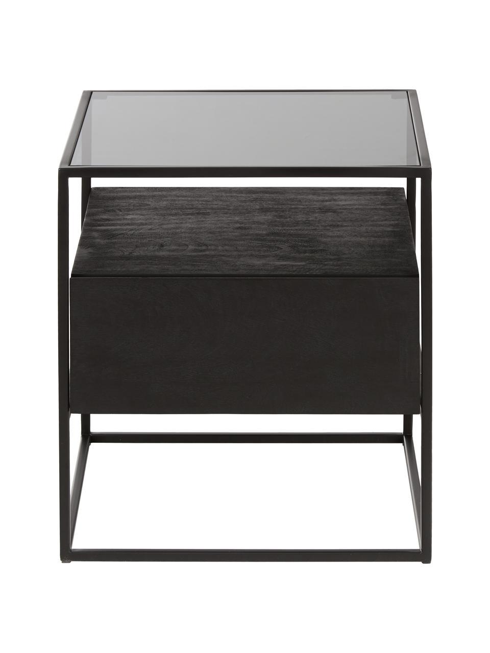 Tavolino con cassetto Theodor, Piano d'appoggio: vetro, Struttura: metallo verniciato a polv, Nero, Larg. 45 x Alt. 50 cm
