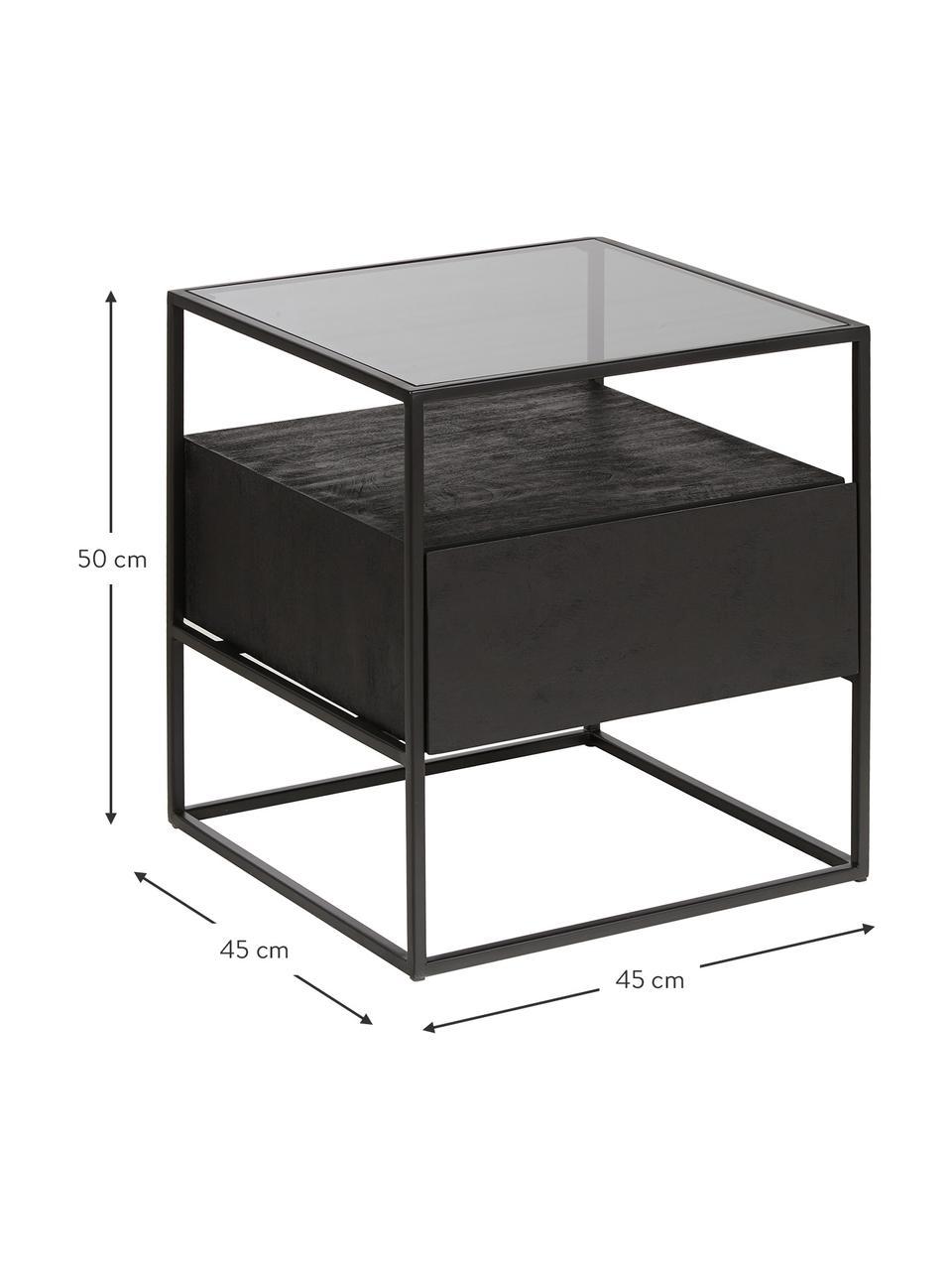 Table d'appoint avec tiroir Theodor, Noir