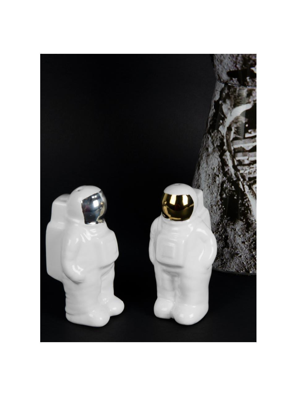 Set saliera e pepiera Astronaut 2 pz, Porcellana, Bianco, argentato, dorato, Larg. 6 x Alt. 9 cm