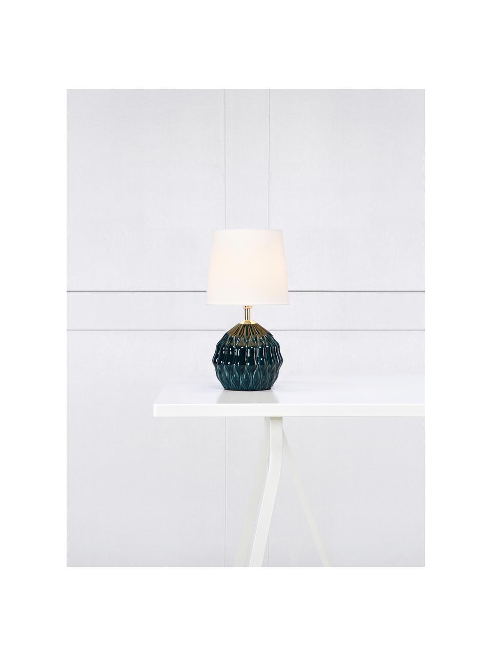 Keramik-Tischlampe Lora in Dunkelgrün, Lampenschirm: Textil, Lampenfuß: Keramik, beschichtet, Dekor: Metall, Grün, Weiß, Ø 19 x H 35 cm