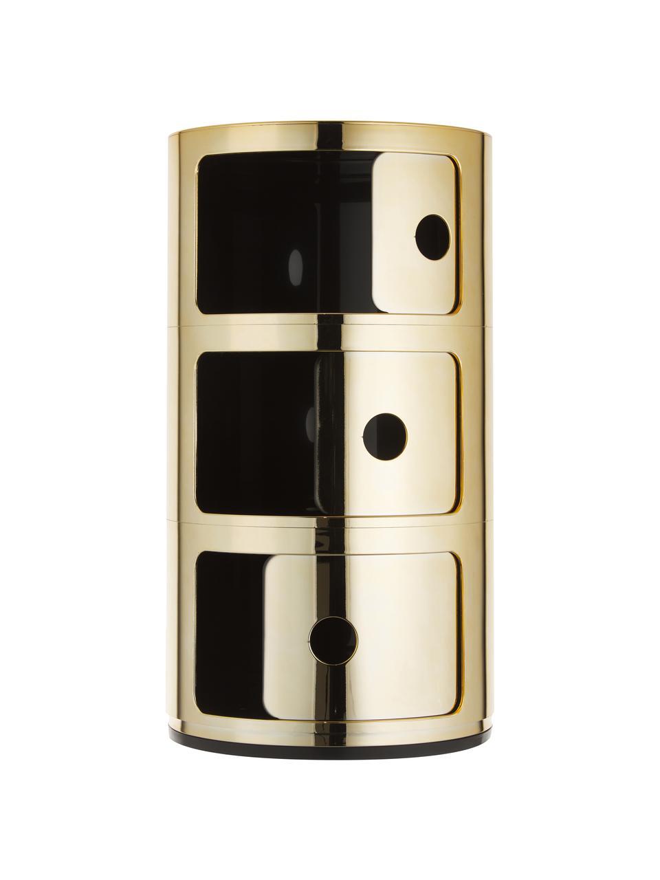 Table d'appoint design 3 compartiments Componibili, Couleur dorée