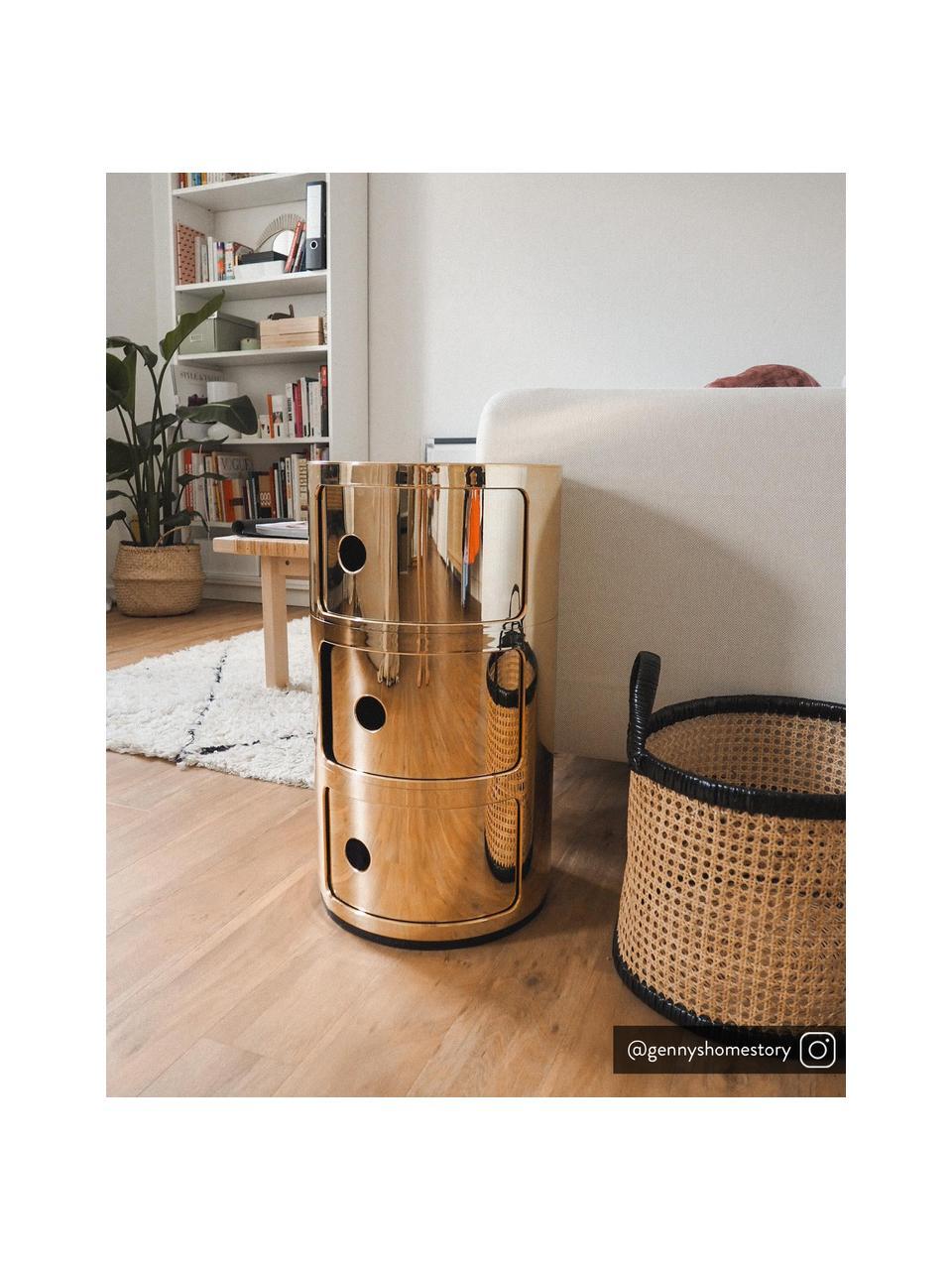 Table d'appoint design 3 compartiments Componibile, Couleur dorée