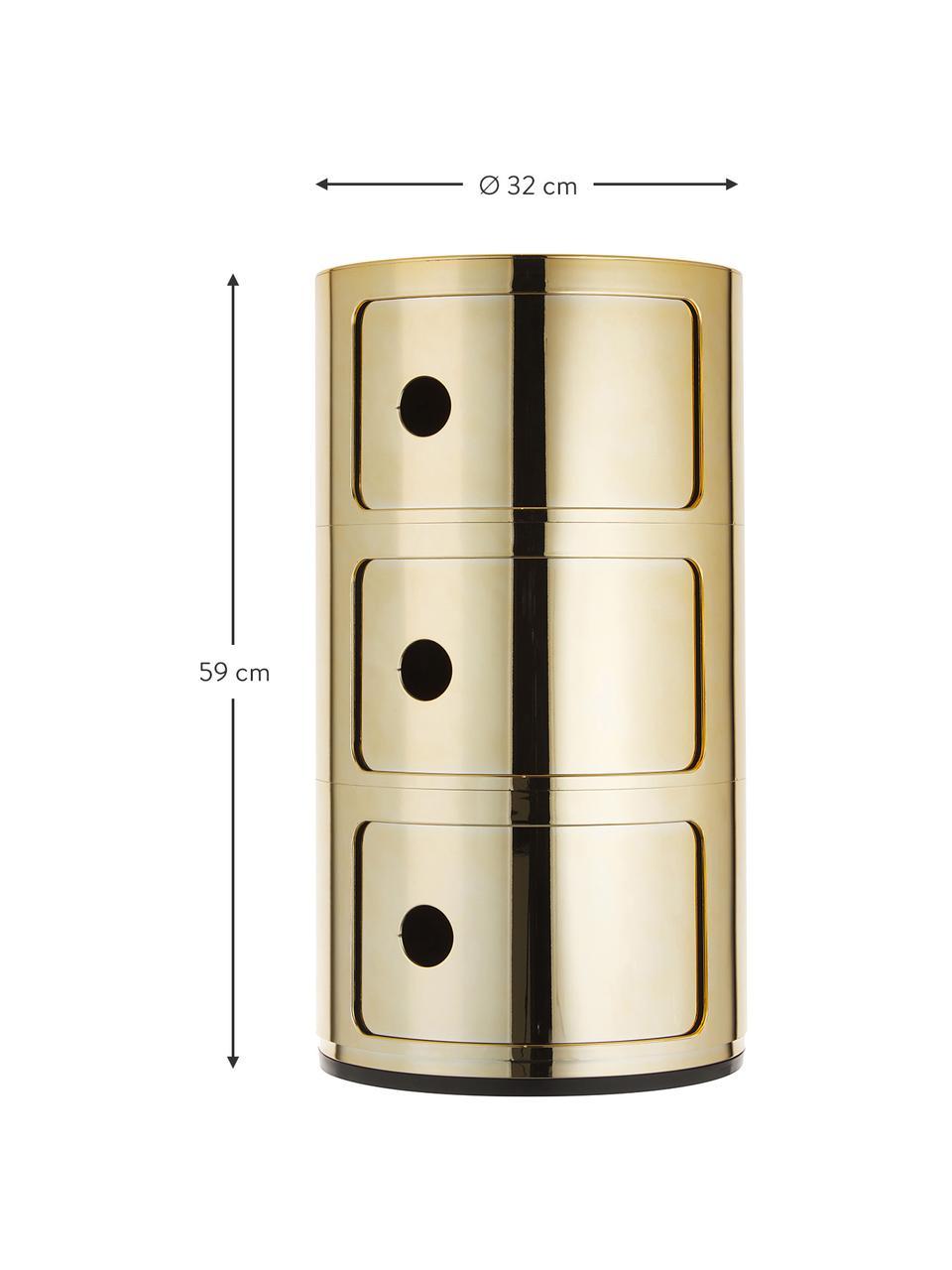 Comodino contenitore di design con 3 cassetti Componibili, Materiale sintetico (ABS), verniciato, Dorato, Ø 32 x Alt. 59 cm