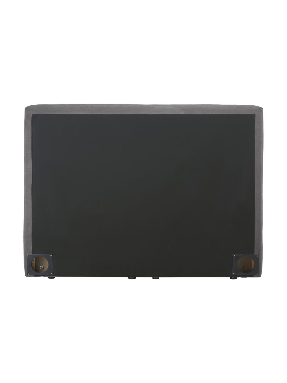 Letto boxspring in tessuto antracite Oberon, Materasso: nucleo a 5 zone di molle , Piedini: plastica, Tessuto antracite, 200 x 200 cm
