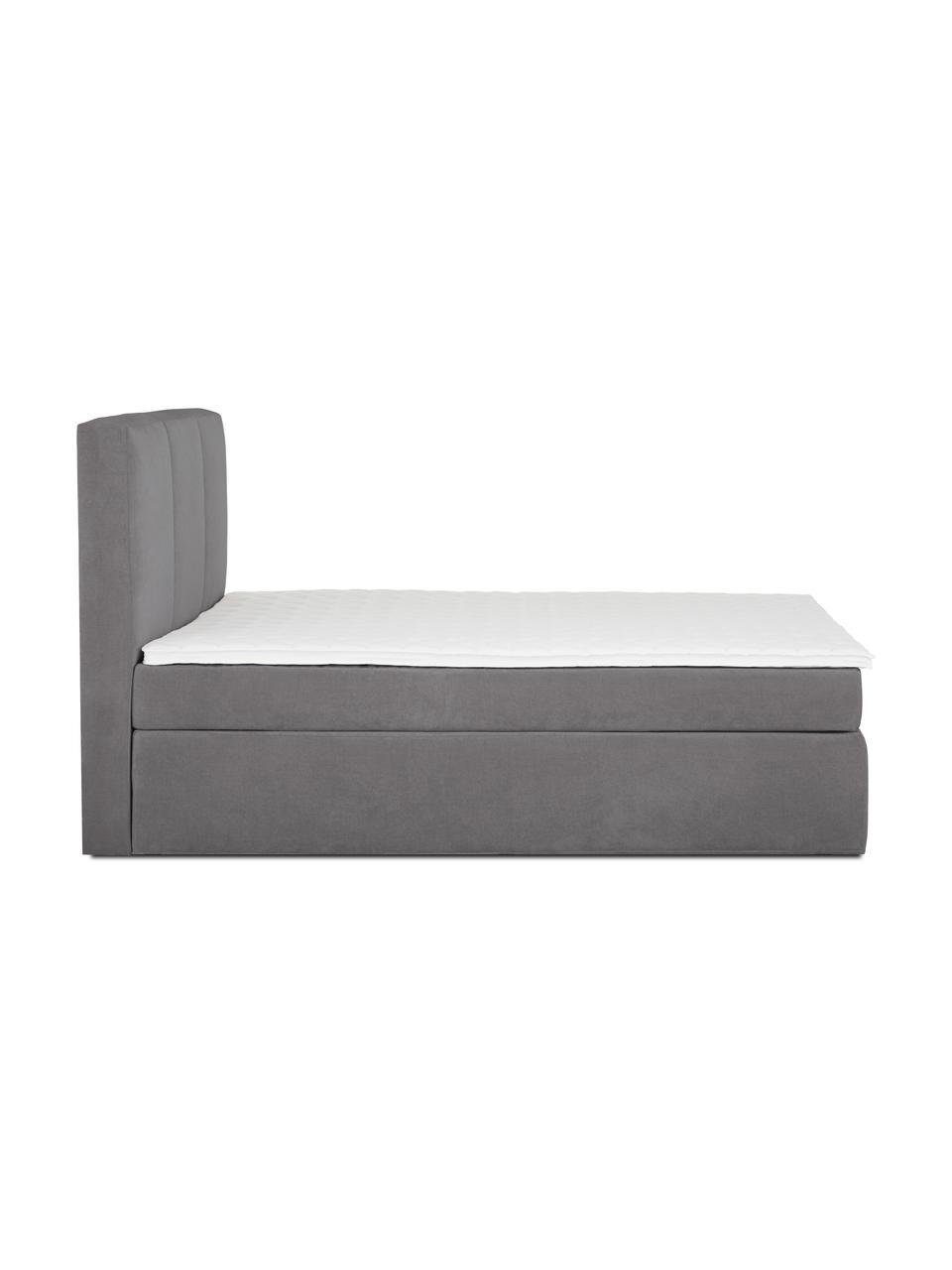 Boxspring bed Oberon in antraciet, Matras: 5-zones pocketvering, Poten: kunststof, Stof antraciet, 200 x 200 cm