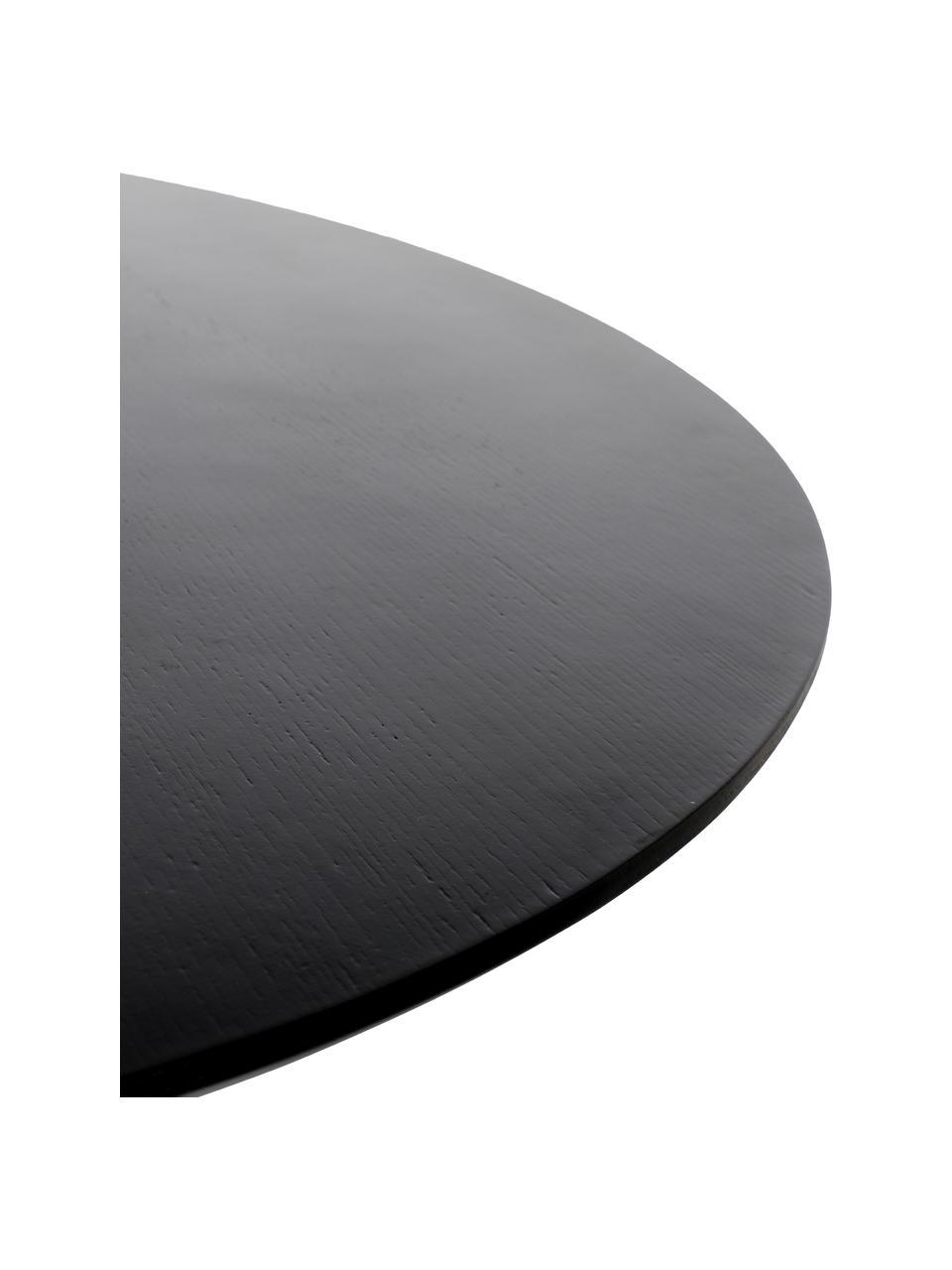 Runder Esstisch Pilar, Ø 100 cm, Sperrholz mit Eschenholzfurnier, Schwarz, Ø 100 x H 76 cm