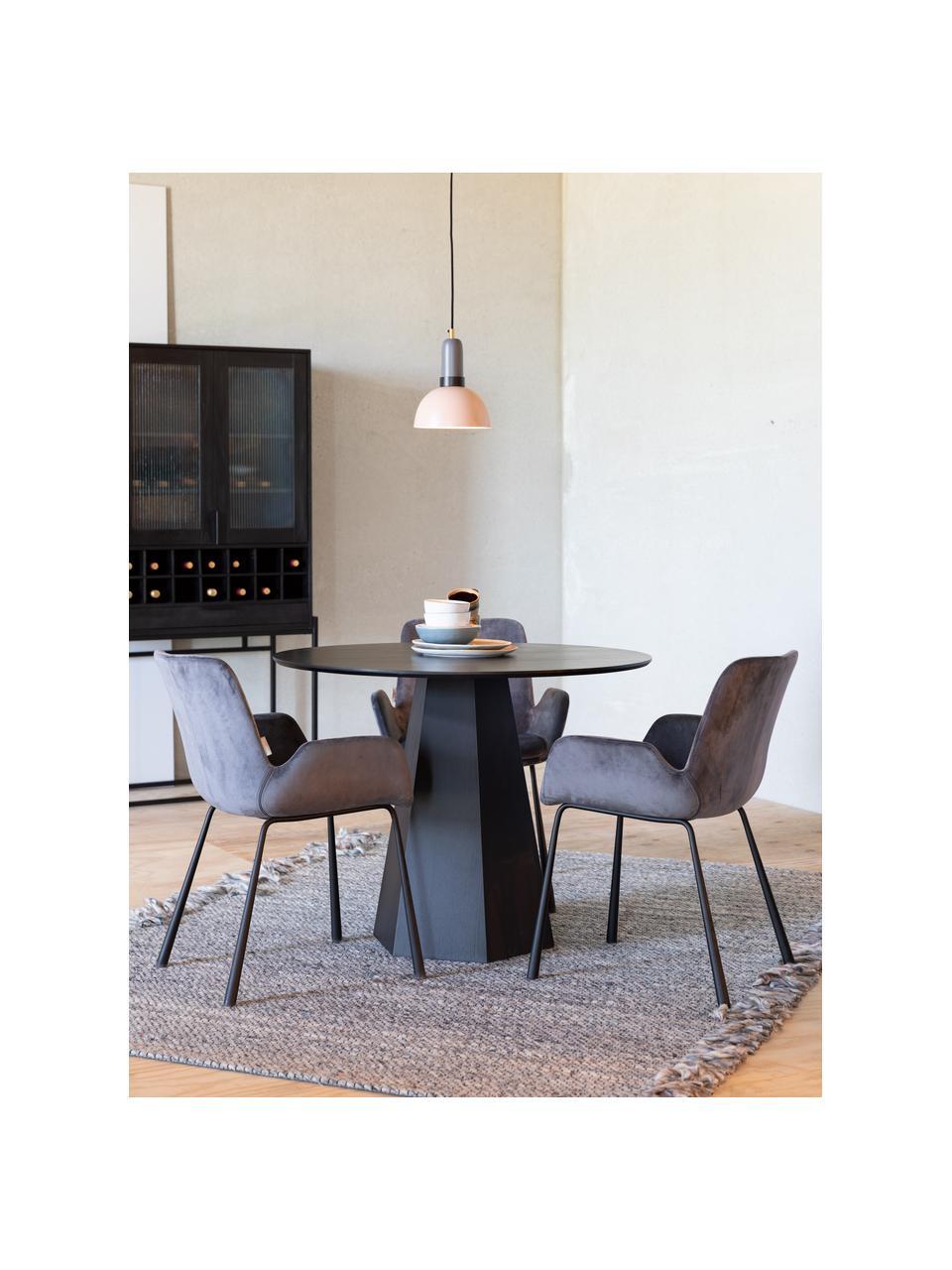 Ronde eettafel Pilar in zwart, Multiplex met essenhoutfineer, Zwart, Ø 100 x H 76 cm