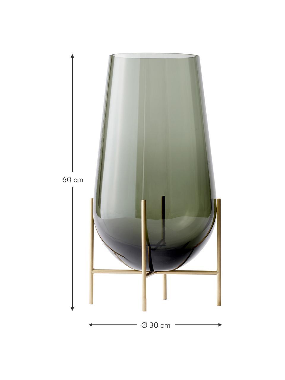 Vaso di design da terra Échasse, Struttura: ottone, Vaso: vetro soffiato, Ottonato, grigio, Ø 20 x Alt. 60 cm