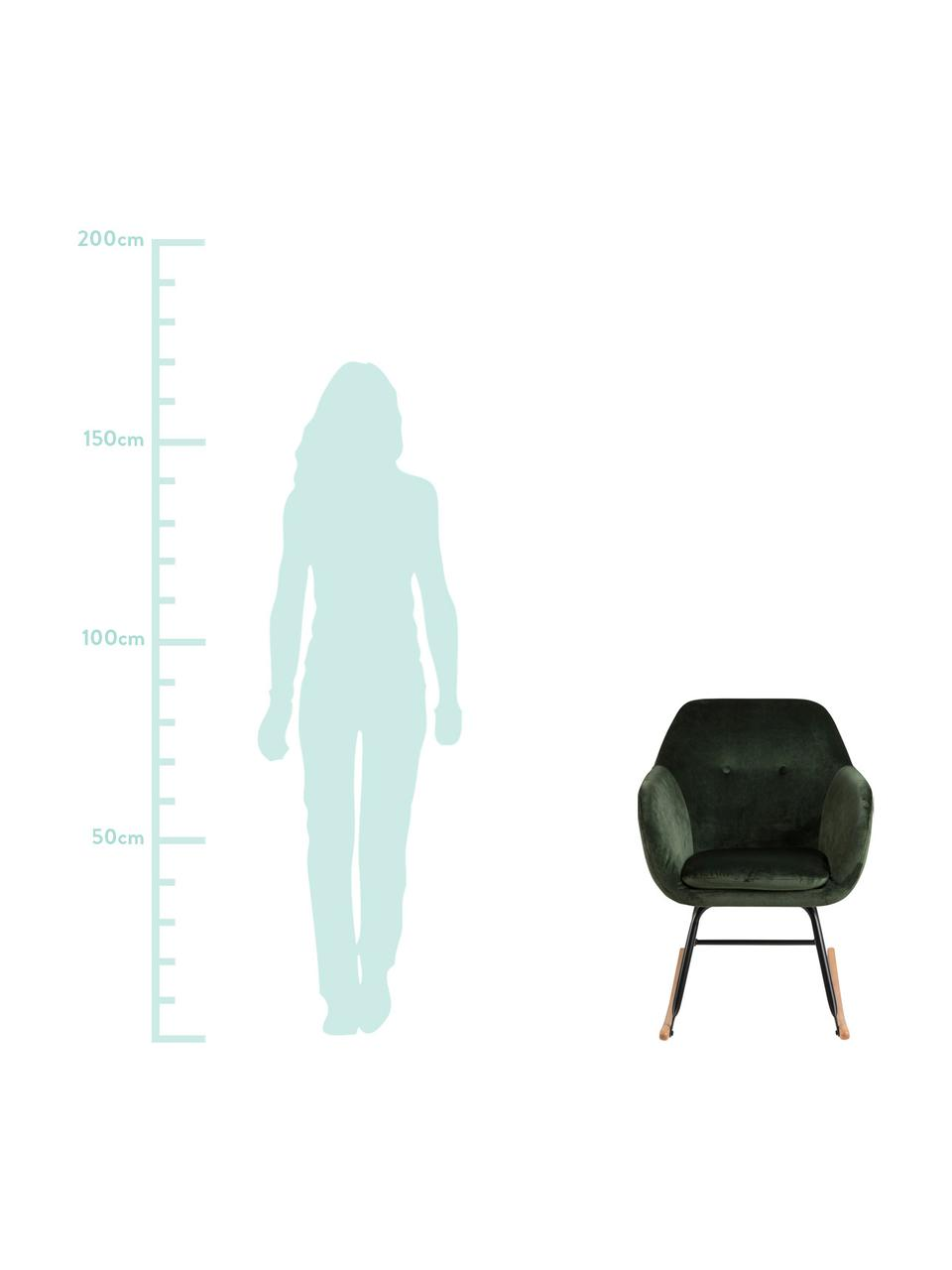 Samt-Schaukelstuhl Emilia in Grün, Bezug: Polyester (Samt) Der hoch, Beine: Metall, pulverbeschichtet, Samt Grün, 57 x 69 cm