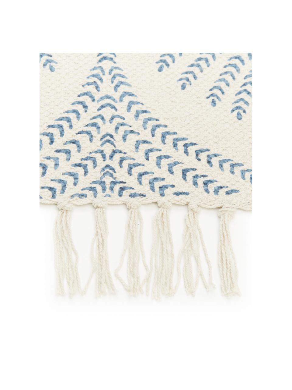 Tappeto in cotone beige/blu tessuto piatto con frange Klara, Beige, blu, Larg. 70 x Lung. 140 cm (taglia XS)
