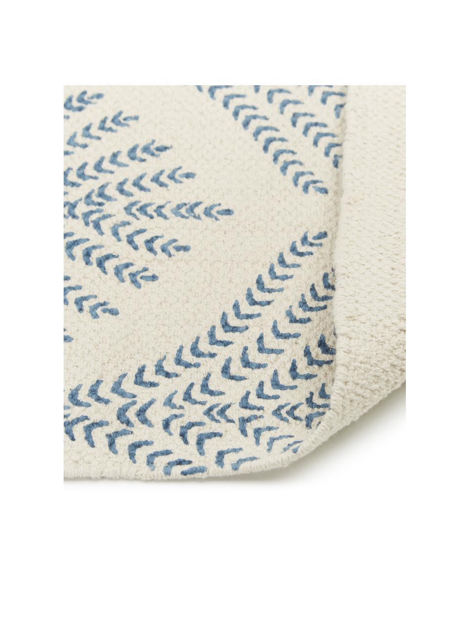 Flachgewebter Baumwollteppich Klara in Beige/Blau mit Fransenabschluss, Beige, Blau, B 70 x L 140 cm (Größe XS)