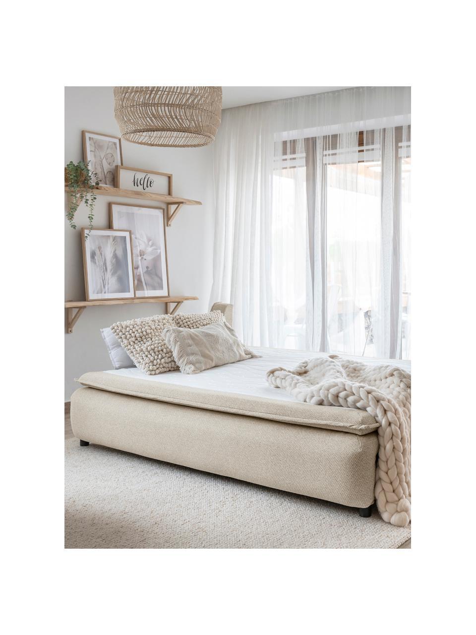 Divano letto in tessuto beige con contenitore Charming Charlie, Rivestimento: 100% poliestere con sensa, Beige, Larg. 225 x Prof. 85 cm