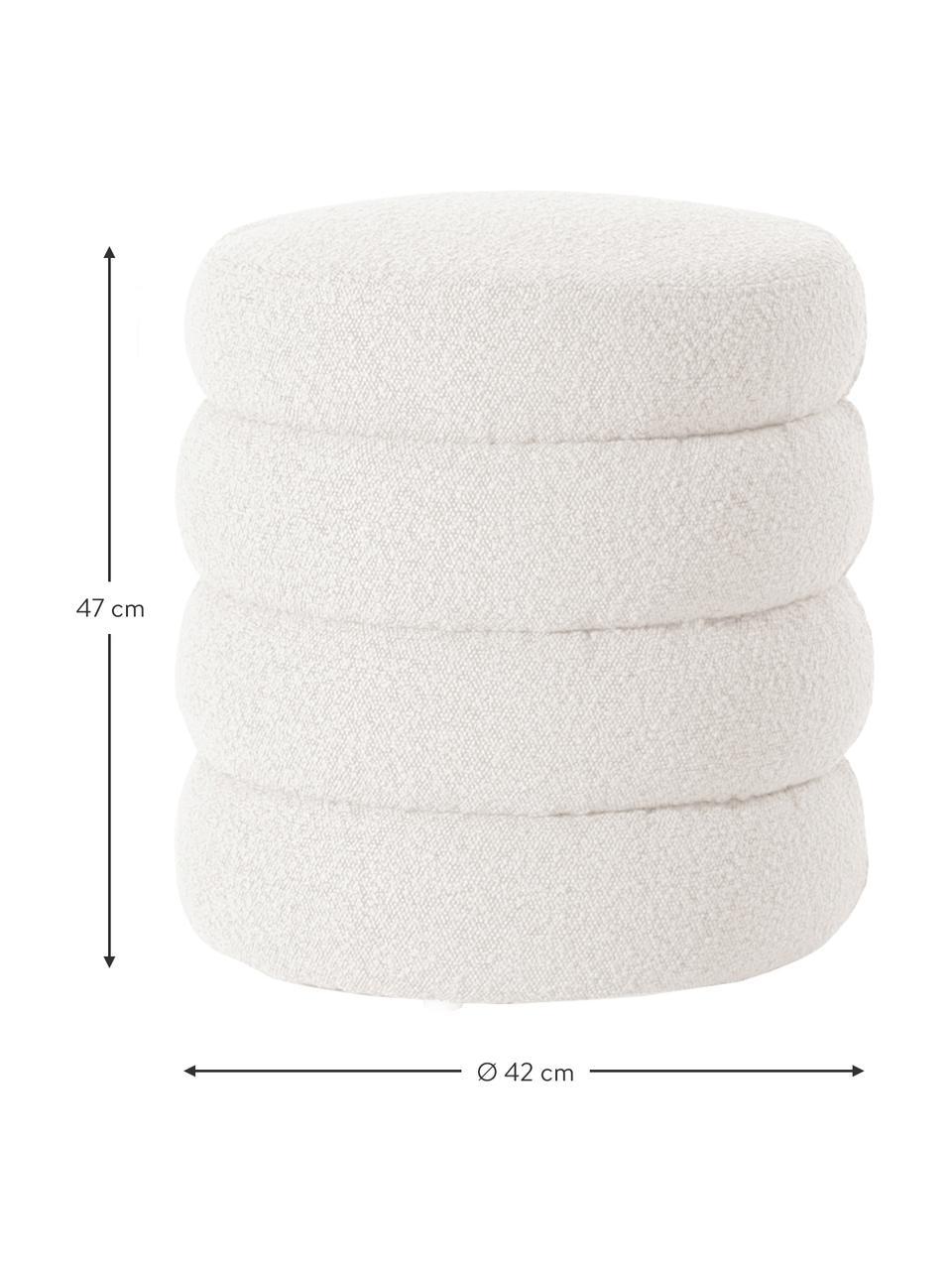 Bouclé poef Alto in crèmewit, Bekleding: bouclé (100% polyester), Frame: massief grenenhout, multi, Bouclé crèmewit, Ø 42  x H 47 cm