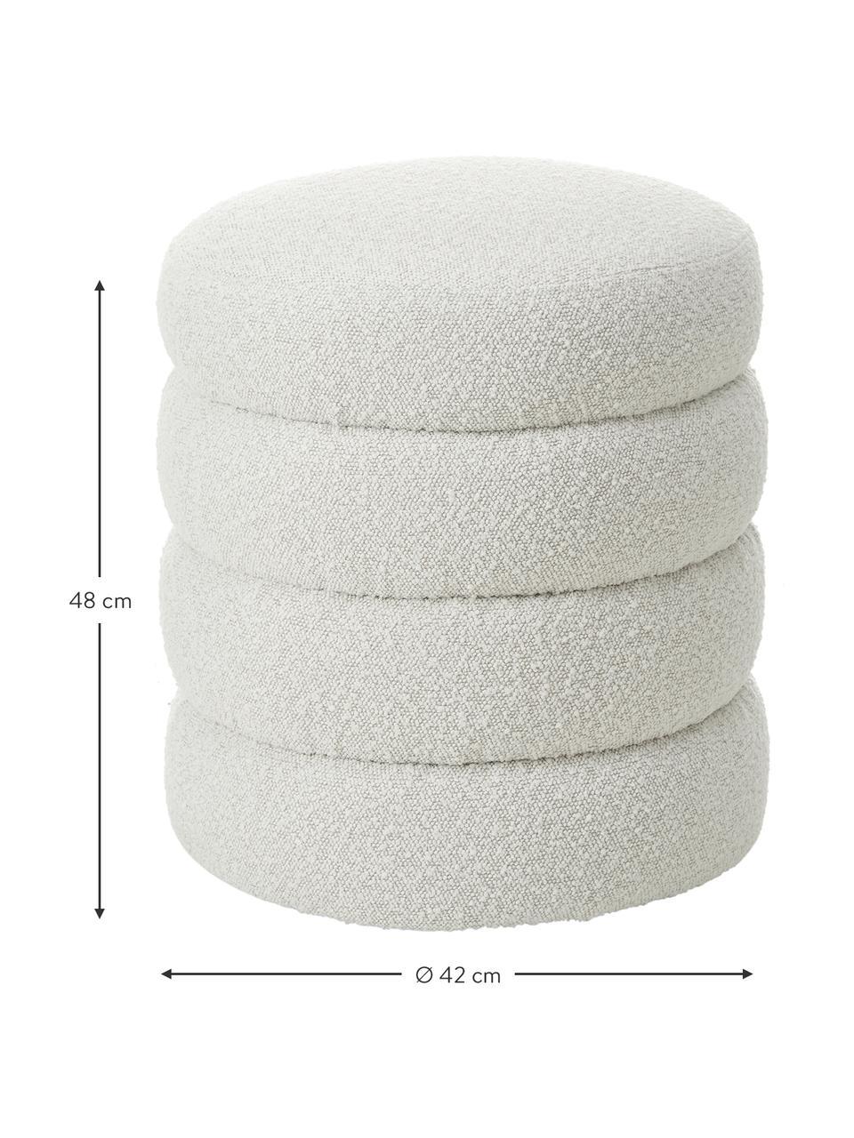Tabouret en tissu bouclé Alto, Blanc crème