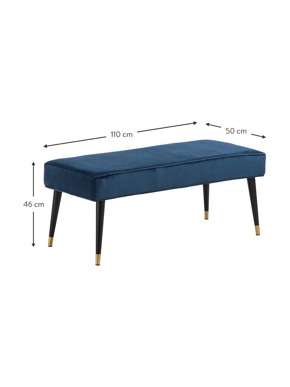 Samt-Sitzbank Beverly, Bezug: Samt (Polyester) 50.000 S, Gestell: Eukalyptusholz, Beine: Metall, pulverbeschichtet, Dunkelblau, 110 x 46 cm