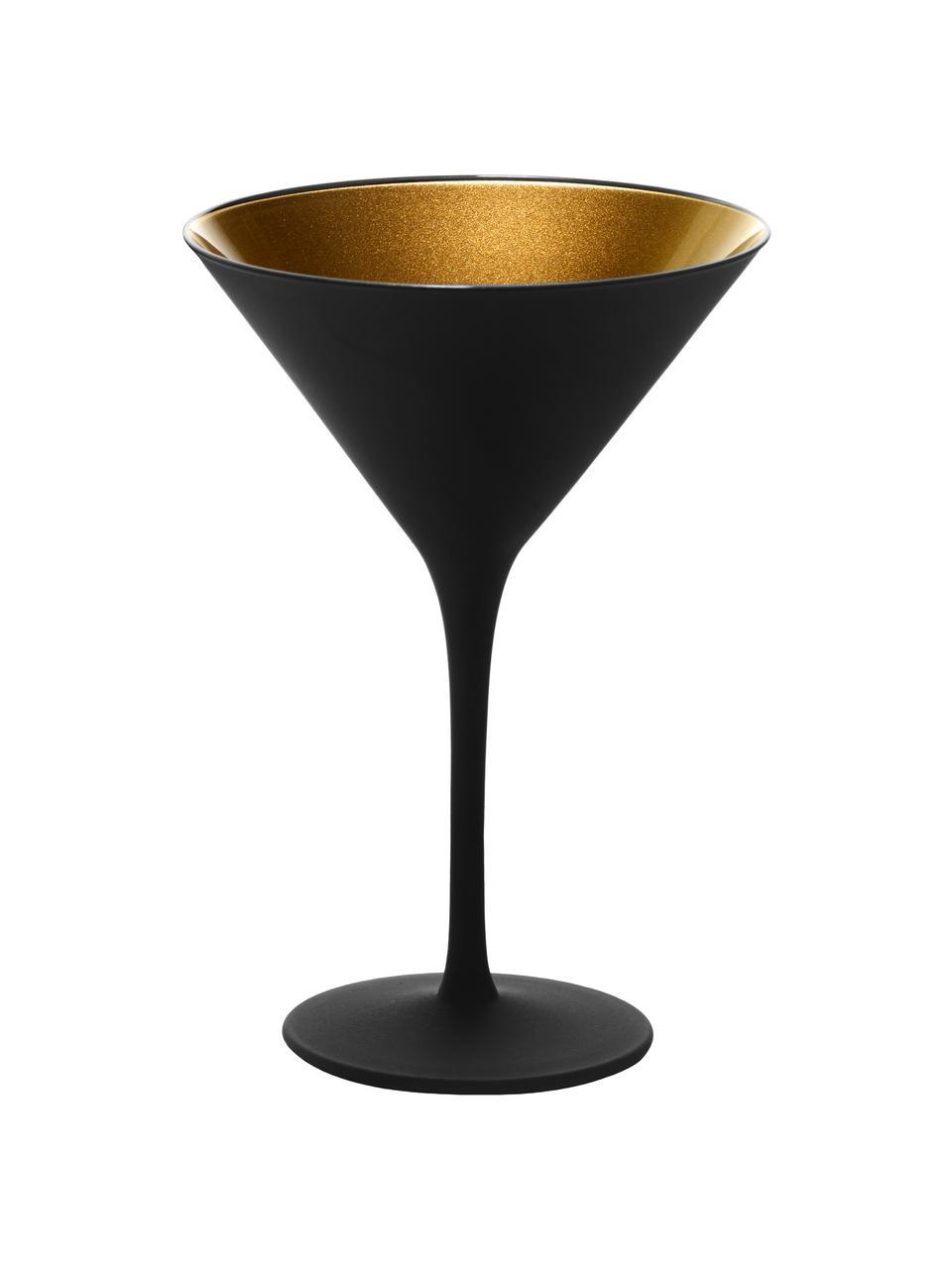 Kristall-Cocktailgläser Elements in Schwarz/Gold, 6 Stück, Kristallglas, beschichtet, Schwarz, Goldfarben, Ø 12 x H 17 cm