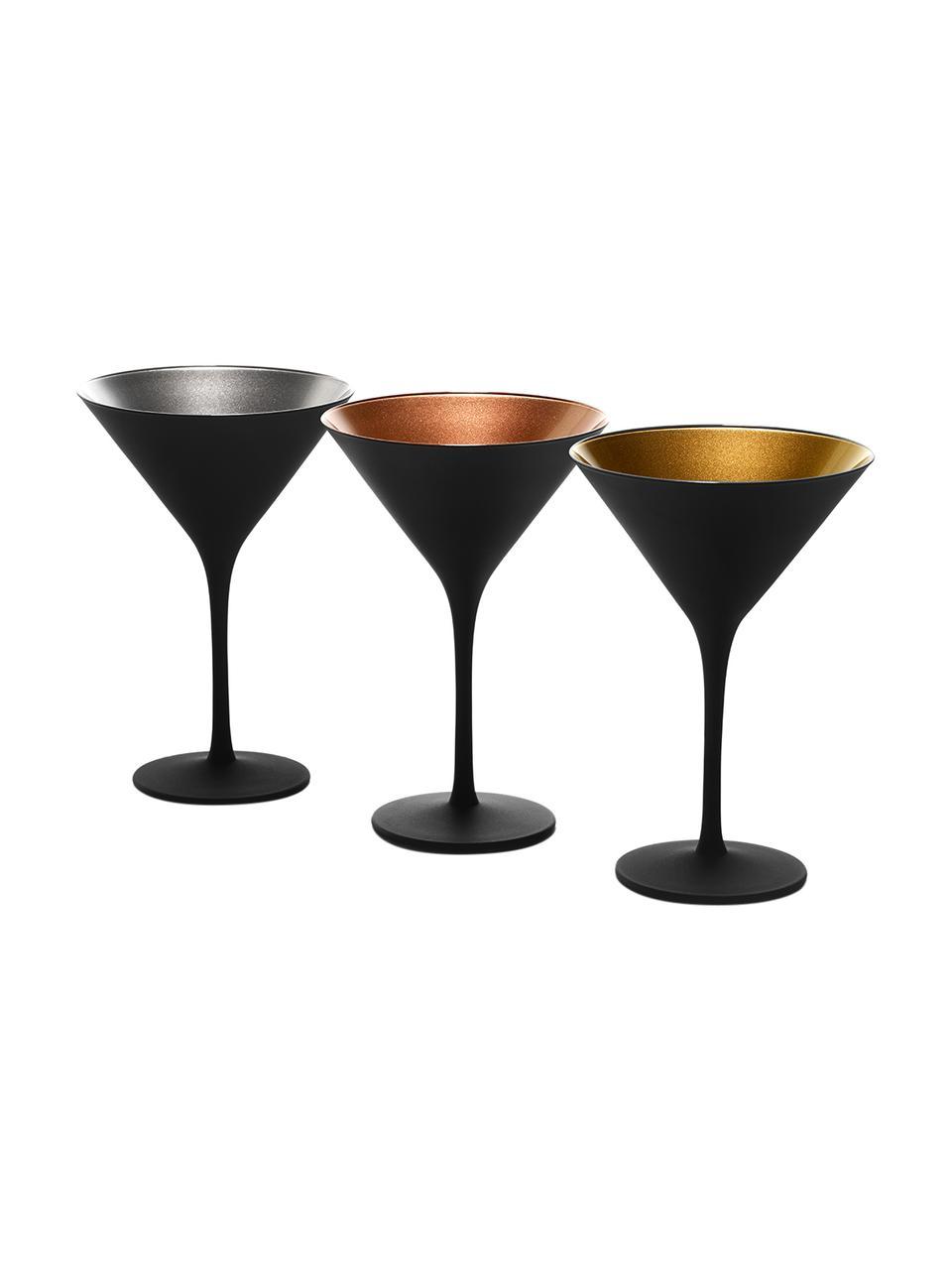 Bicchiere cocktail in cristallo nero/oro Elements 6 pz, Cristallo rivestito, Nero, dorato, Ø 12 x Alt. 17 cm