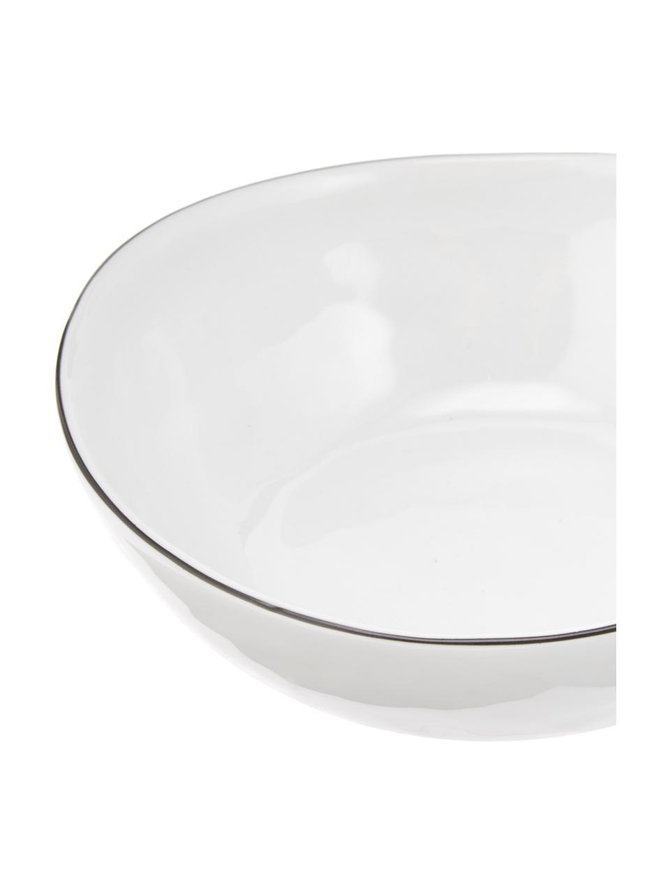 Bol en porcelaine fait main Salt Ø17cm, 4pièces, Blanc cassé, noir
