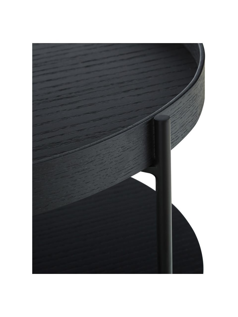 Tavolino da salotto con piano d'appoggio Renee, Ripiani: pannello di fibra a media, Struttura: metallo, verniciato a pol, Ripiani: nero Struttura: nero opaco, Ø 69 x Alt. 39 cm