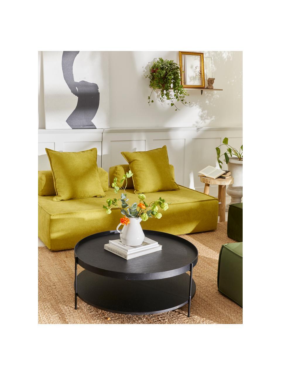 Salontafel Renee met opbergvak, Frame: gepoedercoat metaal, Tafelbladen: zwart. Frame: mat zwart, Ø 69 x H 39 cm