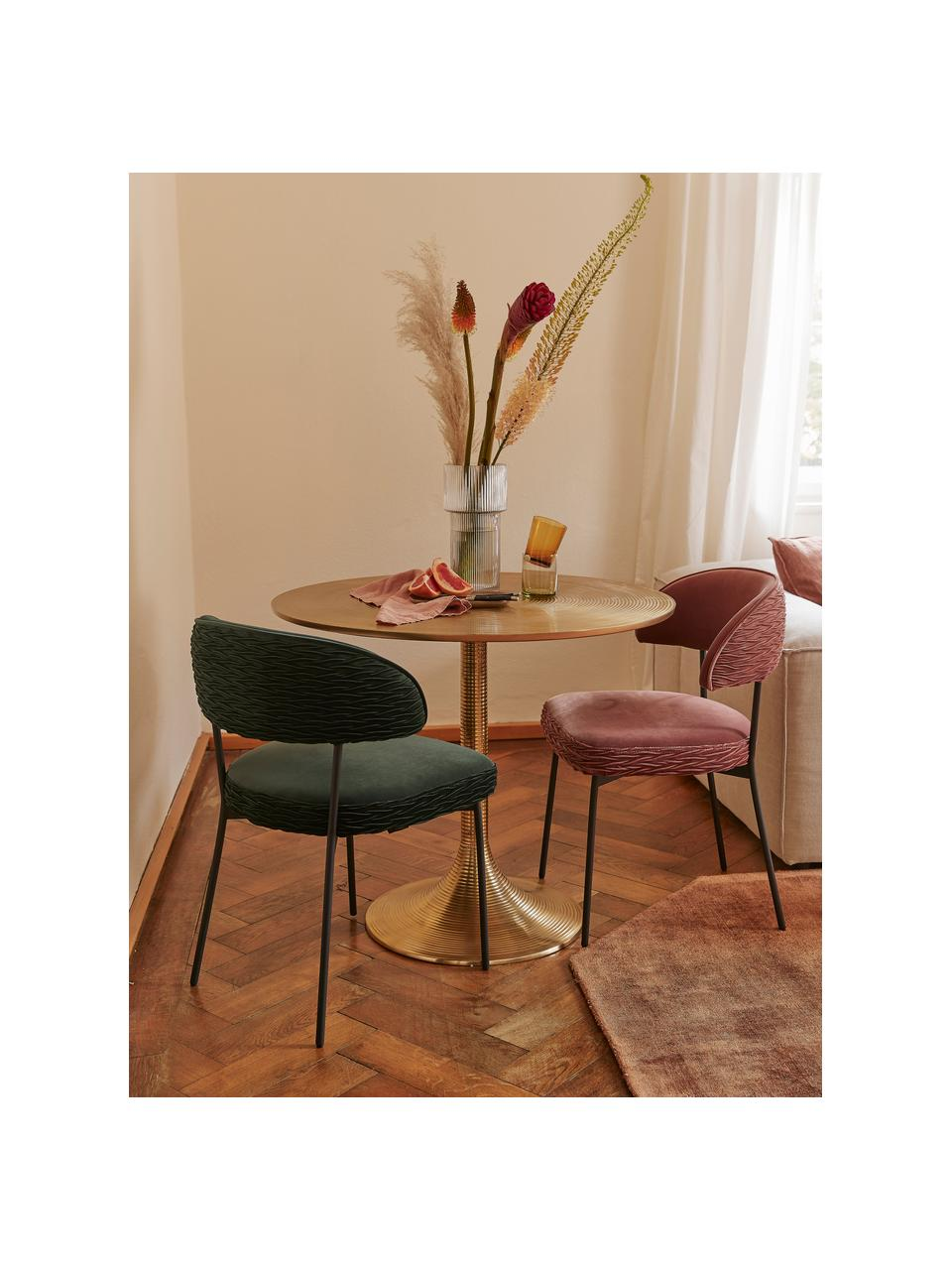 Table ronde dorée Hypnotising, Ø 92 cm, Couleur laitonnée
