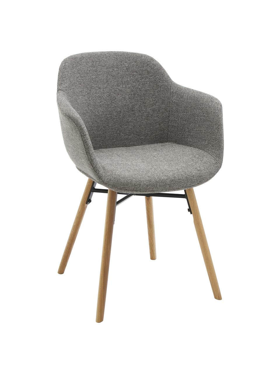 Chaise scandinave Fiji, Tissu gris foncé, bois de chêne